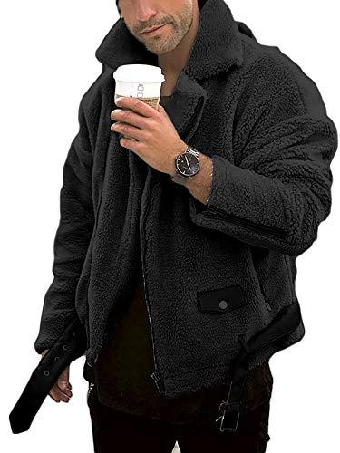 Mens Fuzzy Biker Jacket Sherpa Fleece Motorcycle Zipper Outwear Warm Winter Coat with Pockets