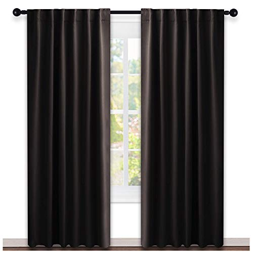 NICETOWN Window Curtains Blackout Drapery Panels - (Toffee Brown Color) 52 inches x 84 Inch, 2 Pieces Set, Solid Blackout Drapes for Theater ()