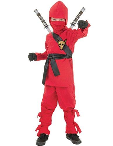 Underwraps Costumes Big Boy's Children's Red Ninja Costume, Small 4-6 Childrens Costume, red, Small