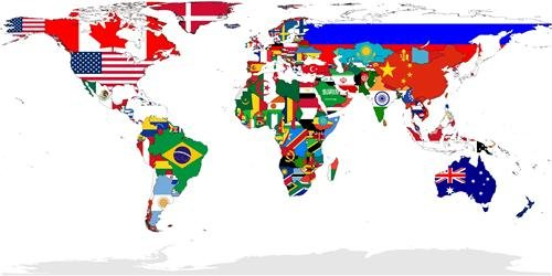 Amazoncom COUNTRY FLAG WORLD MAP GLOSSY POSTER PICTURE PHOTO - Map of the globe with countries
