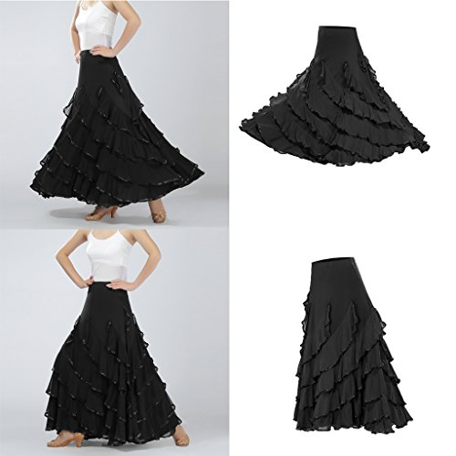 Homyl Elegant Milk silk Ballroom waltz Dancing Long Swing Skirt One size Black ZdkvR1nyP