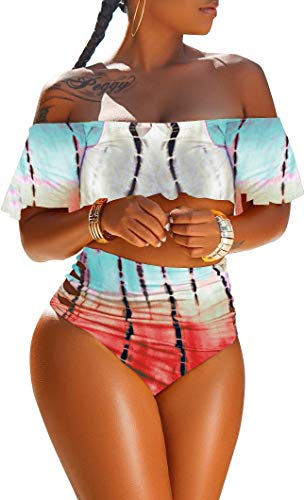 Women Sexy Bikini Swimsuit 2 Piece Tie Dye Cold Shoulder Flared Crop Top High Waist Short Pants Clubwear Romper