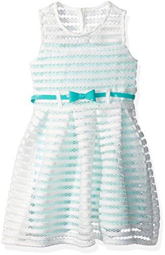 Belt Clothing Brands (Nannette Toddler Girls' Sleeveless Open Mesh Dress with Contrast Lining, Belt, White,)