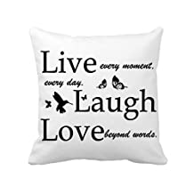 "ilkin 18 X 18"" Canvas Decorative White Throw Pillow Cover Cushion Case Custom Pillow Case,Live Love Laugh"