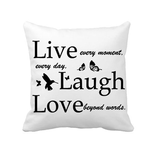 OneMtoss Canvas Decorative White Throw Pillow Cover Cushion Case Custom Pillow Case,Live Love Laugh