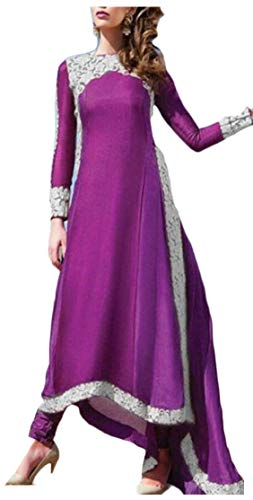 Alion Women Fashion Long Dress Abaya Islamic Clothing Girls Arabic Caftan Purple M