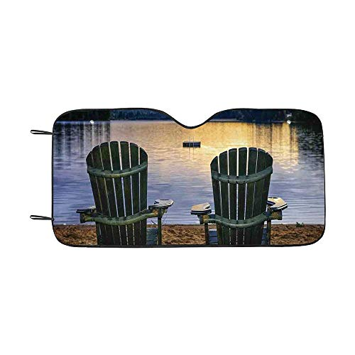 Seaside Decor Durable Car Sunshade,Two Wooden Chairs on Relaxing Lakeside at Sunset Algonquin Provincial Park Canada for car,55