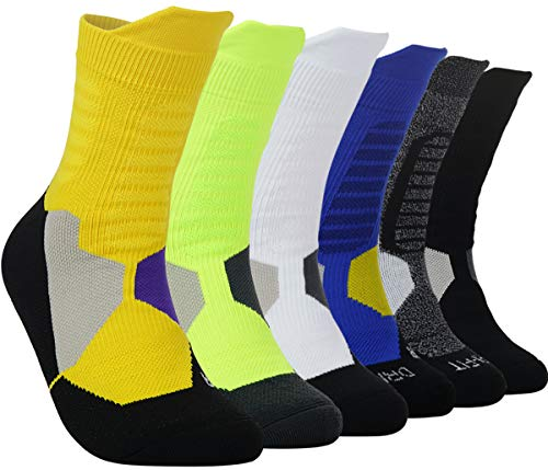 - Thick Protective Sport Cushion Elite Basketball Compression Athletic Socks for Boy Girl Men Women (Pack of 3-6)