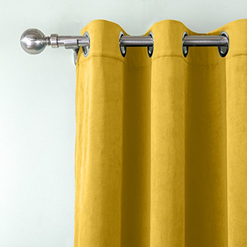 COFTY Super Soft Matt Luxury Velvet Curtain Drape Yellow 50Wx84L Inch(set of 2 panels) - Nickle Grommet - BIRKIN Collection Classroom| Theater| Bedroom| Living Room| Hotel by COFTY (Image #2)