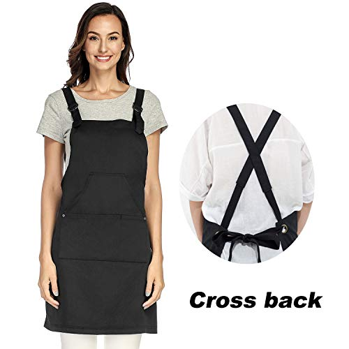 UNISI Cross Back Aprons for Women, Apron Artist Overall, Bulk Aprons Adult Apron, Work Apron, Black Aprons, Gifts for Grilfriend, Craft Cotton, Adjustable M to XXXL(Black) ()