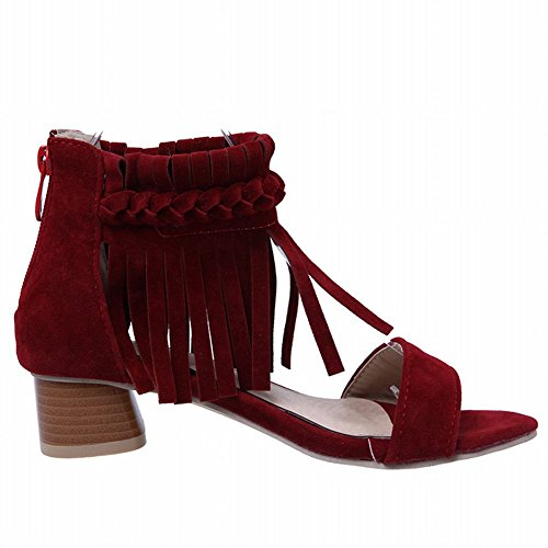 Mee Shoes Women's Charm Block Heel Tassel Sandals Red snY07W