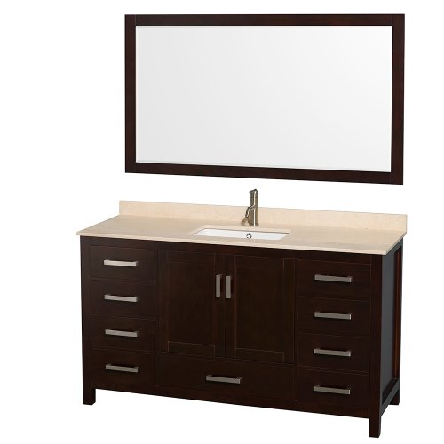 Basin Espresso Single Vanity (Wyndham Collection Sheffield 60 inch Single Bathroom Vanity in Espresso, Ivory Marble Countertop, Undermount Square Sink, and 58 inch Mirror)