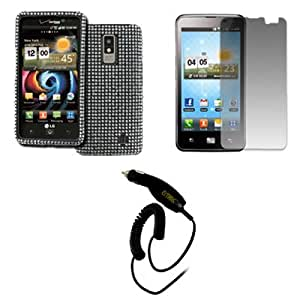 EMPIRE LG Spectrum VS920 Full Diamond Bling Design Case Cover (Silver) + Screen Protector + Car Charger [EMPIRE Packaging]