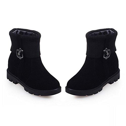 BalaMasa Girls Heighten Inside Buckle Platform Xi Shi Velvet Boots Black 2WJya9DDy