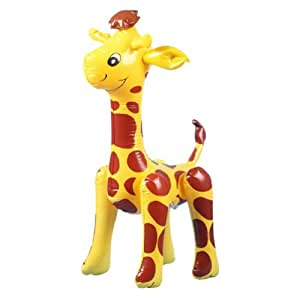 Inflatable Blow-Up Giraffe Toy Party Favour---Yellow with Dark Red Spots by Generic