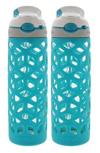 Contigo AUTOSPOUT Ashland Glass Water Bottle w/ Silicone Sleeve - Spout Shield Protects from Germs - BPA Free- Top Rack Dishwasher Safe -Great for Home and Travel - 20 Ounces, Scuba (2 Pack)
