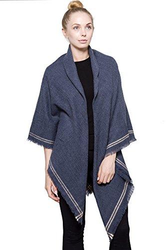 (BYOS Women Winter Versatile Chic Tartan Plaid Oversized Blanket Scarf Wrap Shawl (Double Line Border Denim Blue))