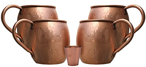 Melange 24 Oz Copper Barrel Mug for Moscow Mules, Set of 4 with One Shot Glass - Heavy Gauge - No Lining - Includes Free Recipe Card
