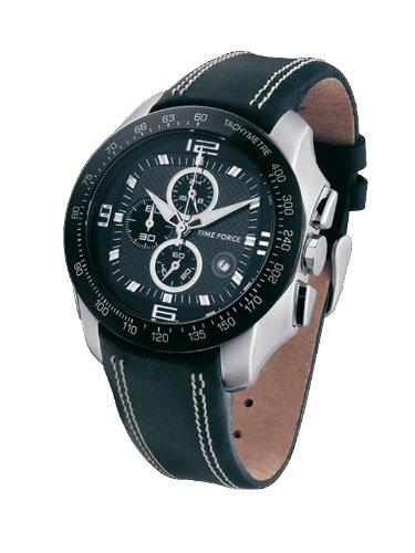 Time Force TF2907M14 - Reloj de caballero de cuarzo, correa de piel color negro: Amazon.es: Relojes