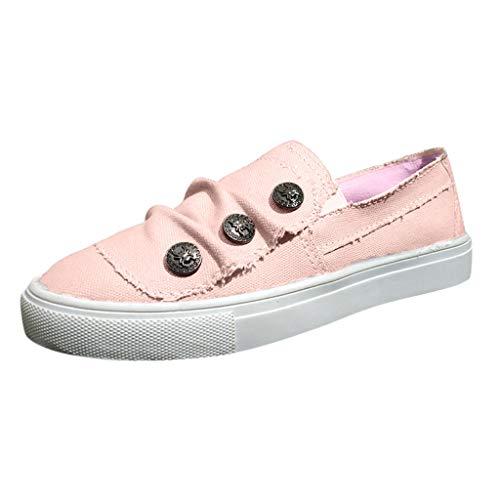 Dainzuy Women's Play Sneaker Fashion Peas Beach Shoes Summer Casual Cowboy Canvas Single Flats Pink