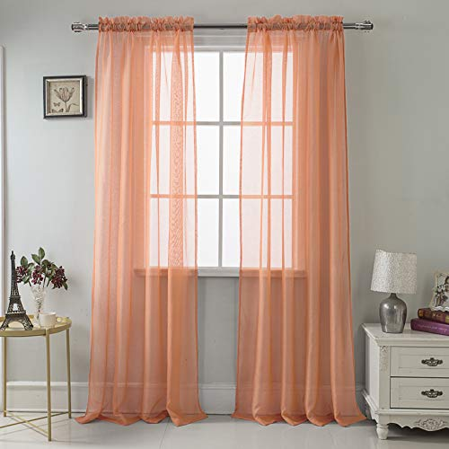 RT Designers Collection Celine Sheer 55 x 90 in. Rod Pocket Curtain Panel, Terracotta