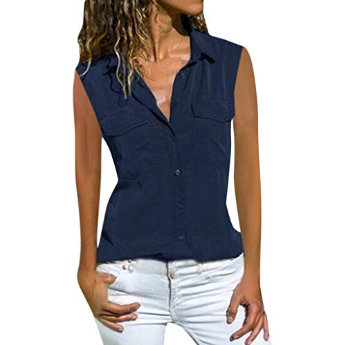 Button Down Shirts for Women Casual Long or Short Sleeve V Neck Collared Plus Size Top with Pocket Front(B Navy,M) ()