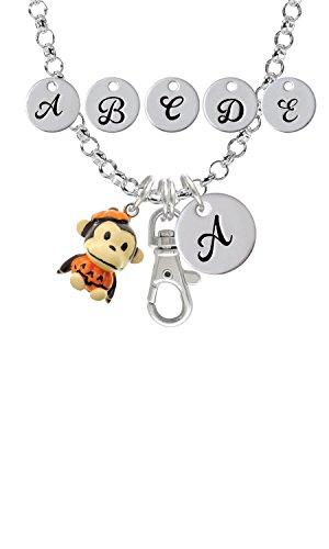 Resin Monkey in Pumpkin Costume Custom Initial Badge Clip Necklace