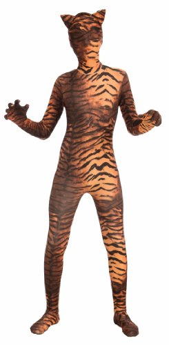 Tiger Print Dress Costume (Forum Novelties Women's Teen Disappearing Man Patterned Stretch Body Suit Costume Tiger Print, Gold/Black, Small/Medium)