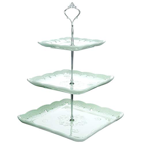 Porcelain Tower - Malacasa SWEET.TIME-007 Green Ceramic Dessert Cake Tower Stand, 14.5