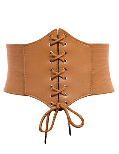 Wide Faux Leather Patchwork Belt Steampunk Corset(S,Brown2