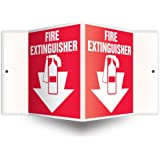 """Accuform PSP113 Projection Sign 3D, Legend""""FIRE EXTINGUISHER (ARROW)"""", 6"""" x 5"""" Panel, 0.10"""" Thick High-Impact Plastic, Pre-Drilled Mounting Holes, White on Red"""
