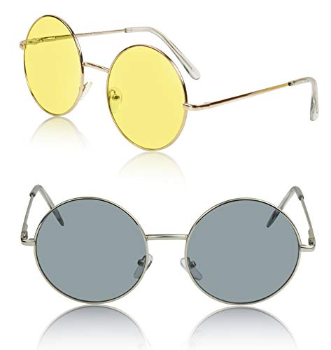 Bulk 2 Two Pack Packs Non Prescription Metal Frame Mens Sunglasses Eyewear gr yl -