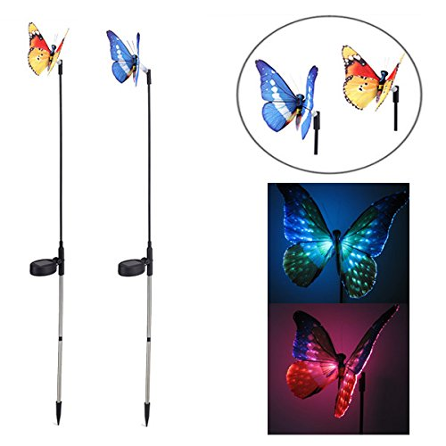 BuyYourWish Garden Solar Power Colorful LED Butterfly Light Balcony Courtyard Decoration Lamp One Piece