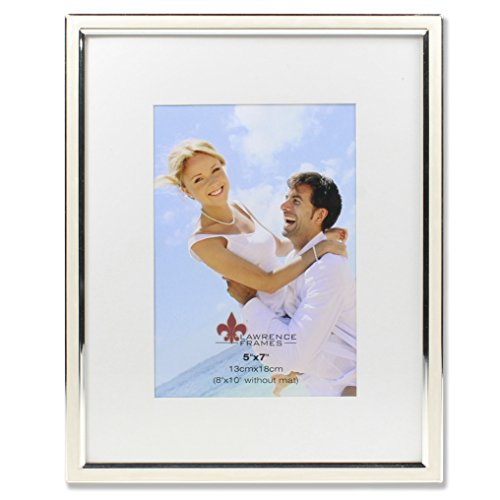 (Lawrence Frames 5x7 Ivory Enamel and Silver Metal Frame-8x10 Without Mat Picture Frame)