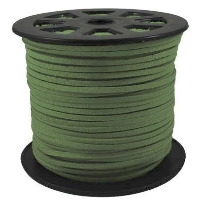 BeadsTreasure Dark Green Suede Cord Lace Leather Cord For Jewelry Making 3x1.5 mm-20 Feet. (Green Leather Cord)