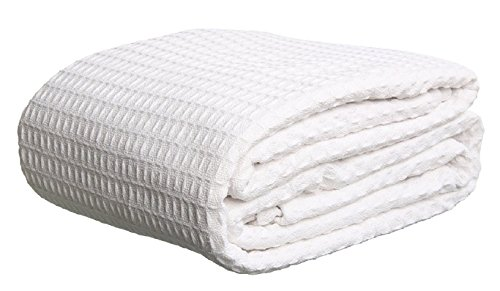 Deluxe 100% Soft Cotton Thermal Waffle Weave Blanket - KING Size - WHITE by Elaine Karen