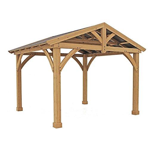 Pre-Stained Premium Cedar Wood & Metal 13' x 11' Outdoor Pavillion Gazebo (Pavilion Outdoor)