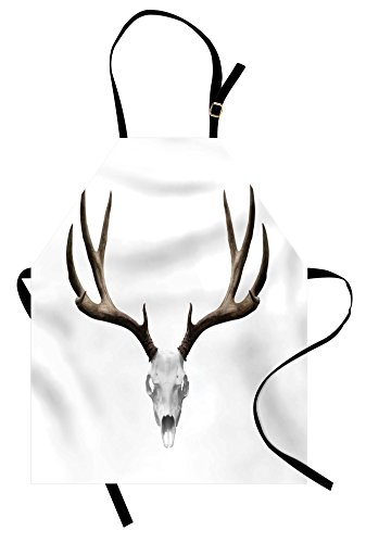 (Ambesonne Antlers Apron, A Deer Skull Skeleton Head Bone Halloween Weathered Hunter Theme Motif, Unisex Kitchen Bib Apron with Adjustable Neck for Cooking Baking Gardening, Warm Taupe Pale)
