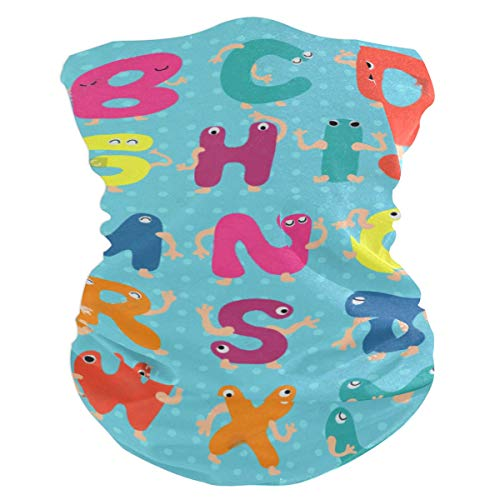 SLHFPX Hipster Animal Alphabet Polka Dot Headband WoBandana Balaclava,Neck Warmer,Face Mask,Collars Wristband
