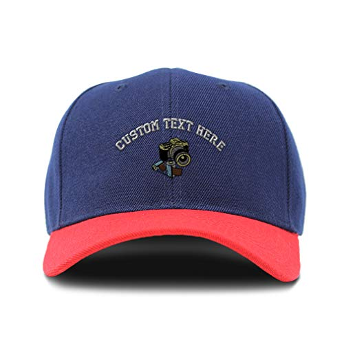 Custom Bi Color Baseball Cap Photographer Camera Embroidery Acrylic Dad Hats for Men & Women Strap Closure Navy Red Personalized Text Here One Size