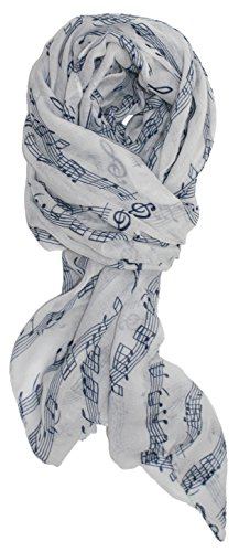 Ted and Jack - Sweet Symphony Allover Music Notes Scarf (White with Blue Notes) by Ted and Jack (Image #1)