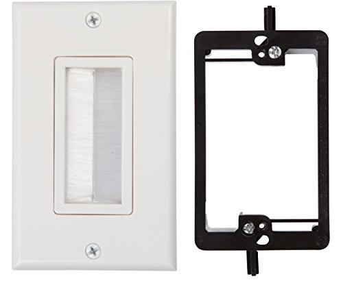 Gang Mounting Wall Bracket (Buyer's Point Brush Wall Plate, with Single Gang Low Voltage Mounting Bracket Device (White Kit))