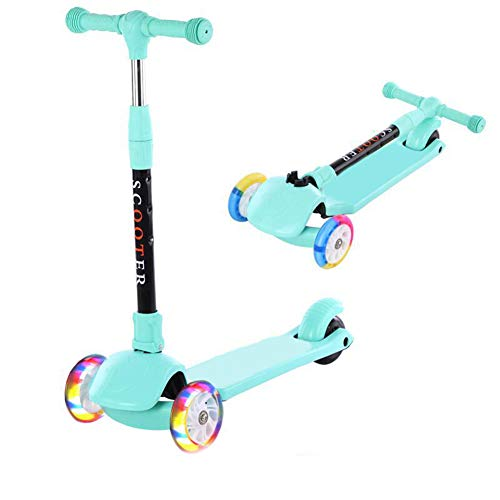 YUANLAISHINI Children's Scooter with LED-Illuminated Wheels, Height-Adjustable, Lightweight Children's Folding Scooter, Gravity Steering,for Children, 80 Kg Capacity,A2