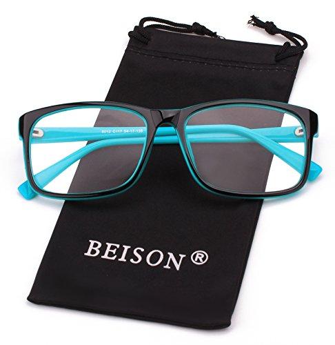 Beison Womens Mens Wayfarer Glasses Frame Nerd Eyeglasses Clear Lens (Black / Blue, - Nerd Goggles