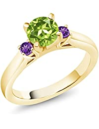 1.05 Ct Green Peridot Purple Amethyst 18K Yellow Gold Plated Silver 3-Stone Ring