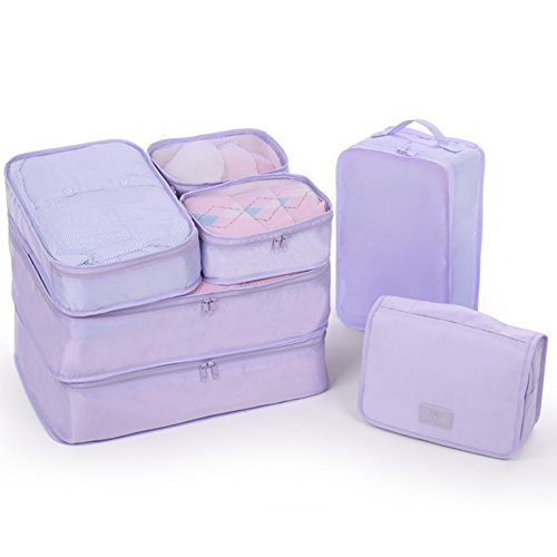 JJ POWER Travel Packing Cubes 7 Set, Luggage Organizers with toiletry kit shoe bag (Lavender)