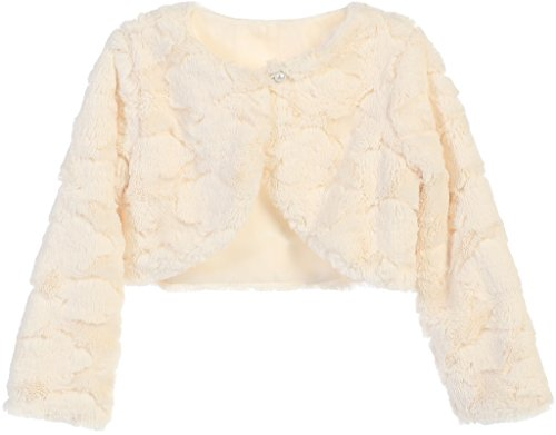 Big Girls Texture Design Pearl Closure Bolero Jacket Knit Sweater (37SK) Ivory 12 Christmas Dresses For Girls Dillards