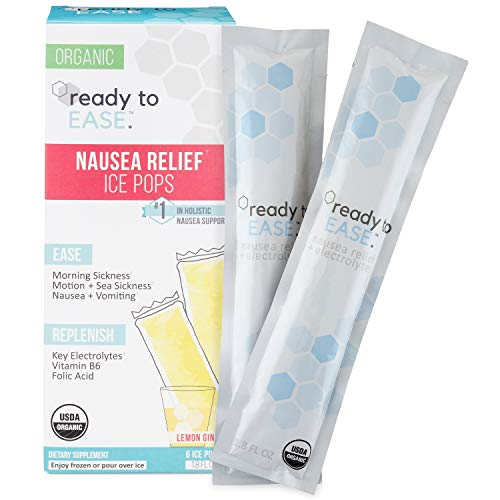 - Ready to Ease - Nausea Relief for Morning Sickness, Motion Sickness + Hangovers Frozen or Liquid Shot, 6 Count, USDA Organic, with B6, Ginger, Coconut Water, Electrolytes