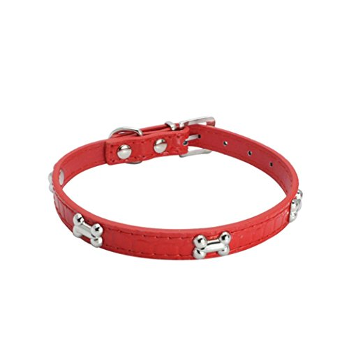 Bone Adjustable Dog Collar (Pet Collar ,Vanvler Exquisite Adjustable Dog Collar Bone Puppy Pet Collars (XS, Red))