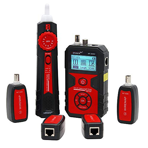 Anti-EI Cable Length Tester, Noyafa NF858C LCD Cable Testers Wire Tracker Locating and Measuring Lenth for RJ11/RJ45 Coax Cable Tester with VFL&NCV Function for Network Cable Testing ()